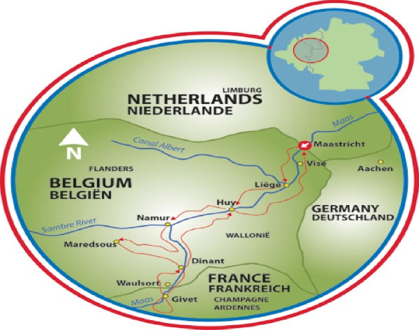 Boat and bike tour Route Ravel 2016 3 Country EBike Tour in