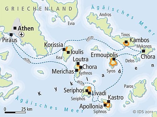 Kykladen Karte.Boat And Bike Tour Kykladen The Heart Of Greece