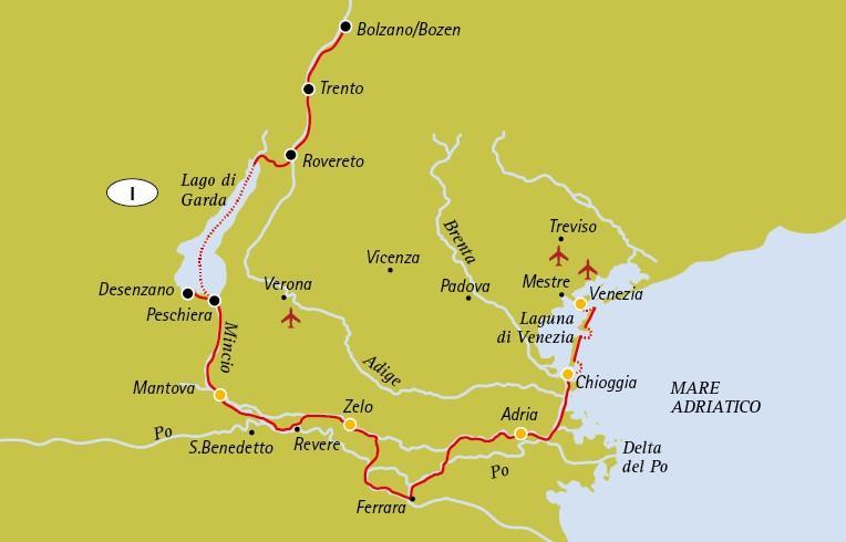 Boat and bike tour: Italy Bolzano Mantua Venice (IT040)